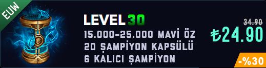 <b>EUW</b> 30 Level & 15-25K Mavi Öz & 20 Kapsül Unranked Hesap