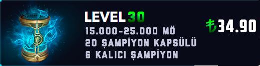 <b>EUW</b> 15-25K Mavi Öz & 20 Kapsül Unranked Hesap