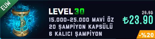 EUW 30 Level & 15-25K Mavi Öz & 20 Kapsül Unranked Hesap