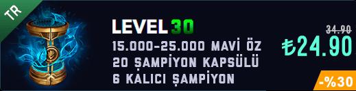 <b>TR</b> 30 Level & 15-20K Mavi Öz & 20 Kapsül Unranked Hesap