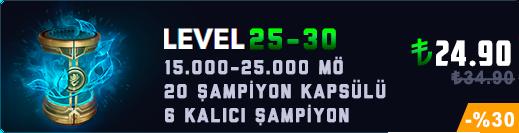 TR 25-29 Level & 15-20K Mavi Öz & 20 Kapsül Unranked Hesap
